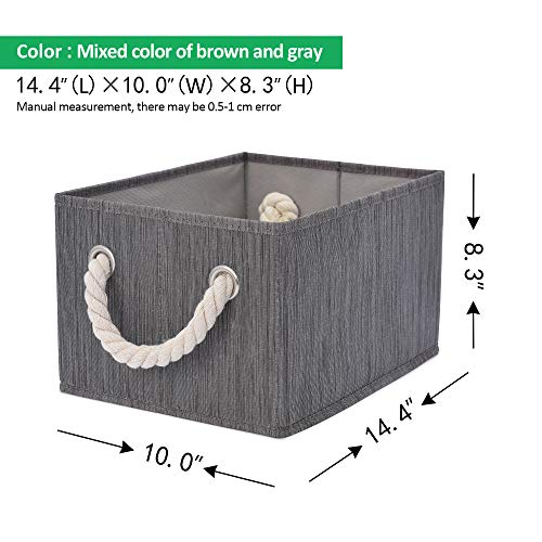 StorageWorks Decorative Storage Bins with Cotton Rope Handles, Foldable Storage Basket, Taupe, Bamboo Style, 3-Pack, Large,14.4x10.0x8.3 inches (LxWxH) by StorageWorks (Image #8)