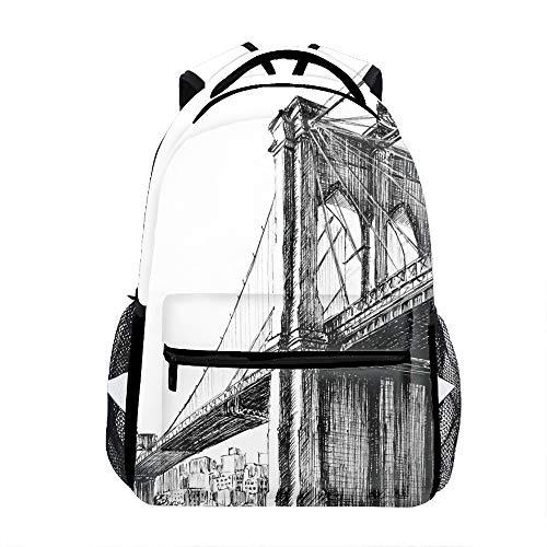 San Francisco Bridge Sketch Backpack for Kids School Laptop Backpack School Bags Rucksack Satchel Hiking Bag -