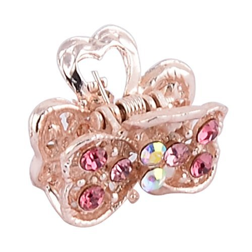 DealMux Metal Double Heart Shape Lady Faux Rhinestones Inlaid Hair Claw Clip Tricolor