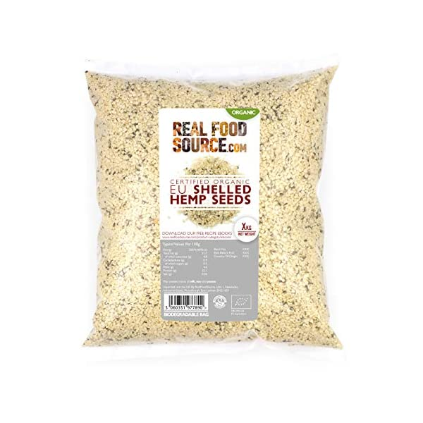 RealFoodSource Certified Organic EU Raw Shelled Hemp Seeds (1KG)