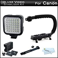 LED Video Light + Video Stabilizer Kit For Canon VIXIA HF R700, HF R72, HF R70, HF R62, HF R60, HF R600, R82, R80, R800 Includes Video Bracket Action Stabilizing Handle + LED Video Light Kit w/Bracket