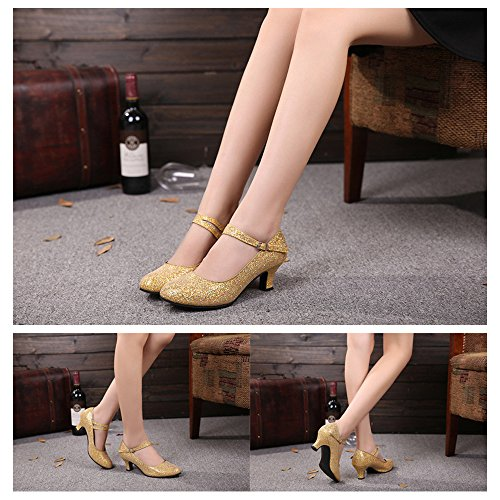 Sequin Ladies Gold Ballroom KINDOYO Round Shoes Dance Toe Pumps Women's Latin Tango qTw5wd1P
