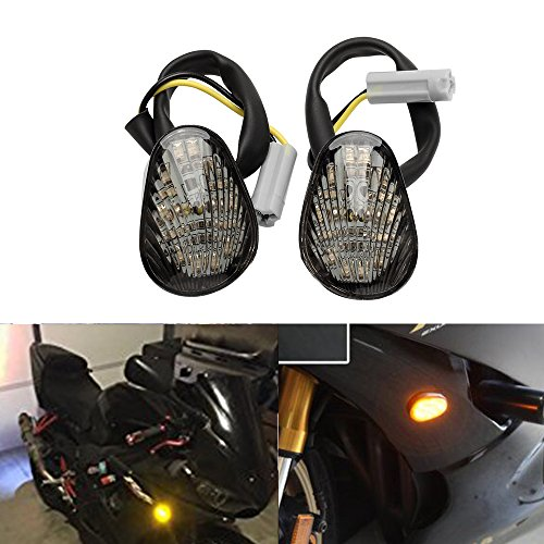 2 PCS Amber LED Turn Signal Indicator Light Lamp Flush Mount For Yamaha YZF R1 R6 R6S Smoked Lens (Yamaha Yzf R1 Led)