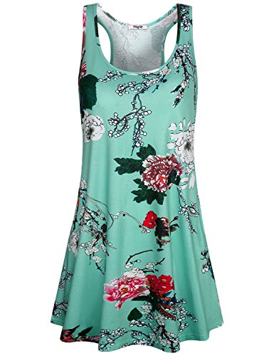- Hibelle Green Dress, Women's Bohemian Floral Printing Racerback Hawaiian Beach Dress Sleeveless Spring Summer Lightweight Clothing Layering Easy Fit Swing Tank Tops XXL
