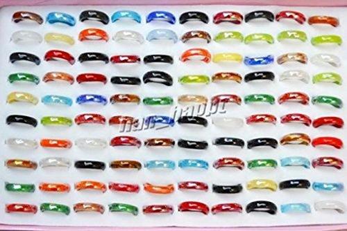 wholesale lots 150pcs murano Lampwork glass colorful finger rings ()