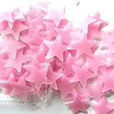 Nufelans 50/100pcs Glow in The Dark Stars Wall Stickers Glowing Stars for Ceiling and Wall Decals, Perfect for Kids Bedding Room or Party Birthday Gift (100PCS, Pink)