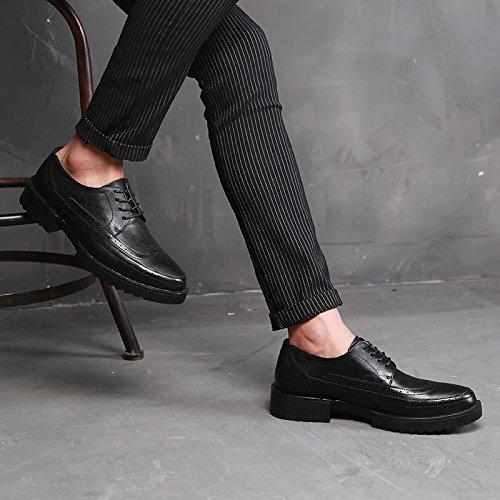 Black Goma Hombre Las A De Baja De Zapatos Bullock Antideslizantes Redonda para Cabeza con Suela Cuero Gruesa A Zapatos Plantas LQV De Usar Ayudar Nuevos AxFSwEpq
