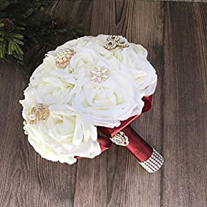 Abbie Home Bride Bouquets-Wedding Bouquet in Burgundy Handmade Orchid Rose with Silk Belt and Holding (413RD) 96