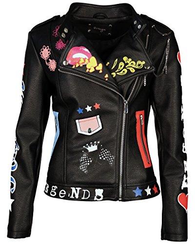 MAZE Biker-Jacke, Damen BI-1718-03 Echtleder-Optik PU schwarz XS-3XL