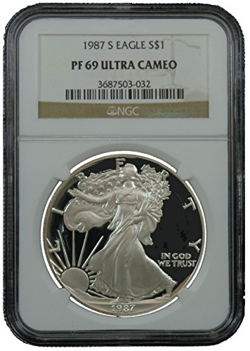 1987 S American Silver Eagle Dollar NGC PF69