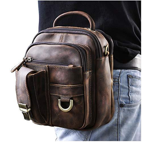 - Le'aokuu Mens Genuine Leather Fanny Messenger Shoulder Satchel Waist Bag Pack (The 3004 Dark Brown)