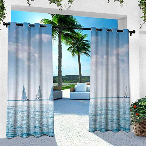Hengshu Ocean, Outdoor Patio Curtains Waterproof with Grommets,Sail Boats Sea Regatta Race Sports Panoramic View Seascape Summer Sky Photo, W96 x L108 Inch, Light Blue and White