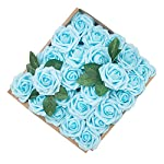 Umiss-Dinopure-Wedding-Bouquet-50pcs-Artificial-Flowers-White-Real-Touch-Artificial-Roses-for-Bouquets-Centerpieces-Wedding-Party-Baby-Shower-DIY-Decorations-Light-Blue
