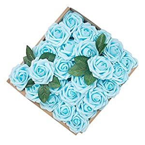 Umiss Dinopure Wedding Bouquet 50pcs Artificial Flowers White Real Touch Artificial Roses for Bouquets Centerpieces Wedding Party Baby Shower DIY Decorations (Light Blue) 80