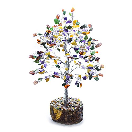 FASHIONZAADI Mix Chakra Natural Stone Feng Shui Bonsai Money Tree for Good Luck Chakras Balancing Crystal Gemstone Energy Decor Home Gift Size -10 Inch (Silver Wire)