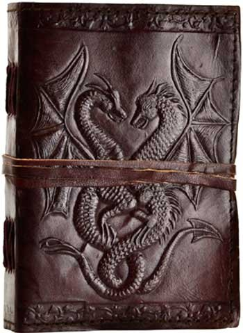 RBI Fortune Telling Toys Spiritual Records Double Dragon Leather Blank Journal with Cord