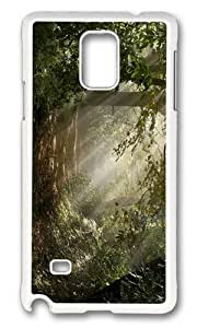 MOKSHOP Adorable forest sunbeams Hard Case Protective Shell Cell Phone Cover For Samsung Galaxy Note 4 - PC White