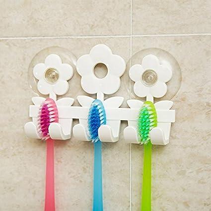 Godea Bonito Soporte para cepillos de Dientes con Ventosa para baño, Pared, Cara Sonriente