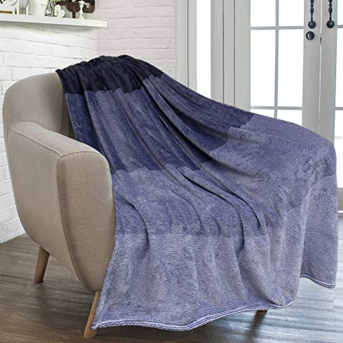 Blanket Fleece Silky (PAVILIA Flannel Fleece Luxury Throw Blanket | Lightweight Soft Microfiber Gradient Ombre Blanket | Decorative Velvet Throw for Couch Sofa Bed | All Season Use | 50 x 60 Inches Navy Blue)