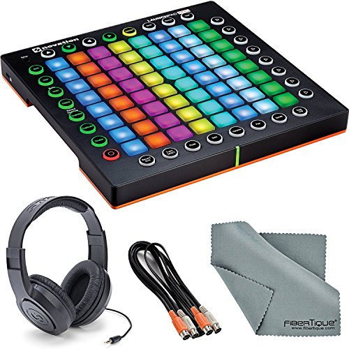 Novation Launchpad Pro MIDI controller and Grid Instrument Bundle with Samson Stereo Headphones + Cable + Fibertique Cleaning Cloth by Photo Savings