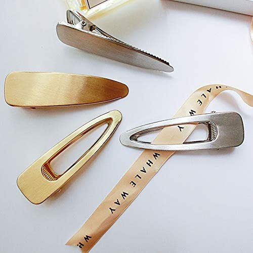 4 Pack Fashion Metal Alligator Hair Clips Duck Bill Clips for Women and Ladies, Beautiful Gold and Silver Hair Barrettes Hair Pins for Thick Hair
