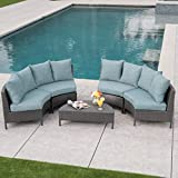 Great Deal Furniture Nessett Outdoor 5 Piece Grey Wicker Sectional Sofa Set with Teal Water Resistant Cushions