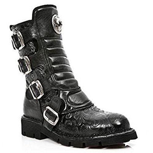 NEWROCK New Rock Women M.1471-S5 BLACK VINTAGE FLOWER ROCK LEATHER BOOTS
