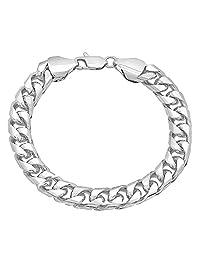 9mm Rhodium Plated Curb Bracelet