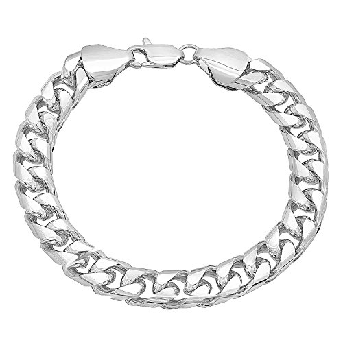 The Bling Factory 9mm Wide Rhodium Plated Smooth Miami Cuban Curb Link Chain Bracelet, 7