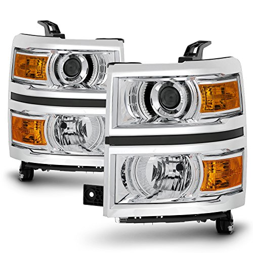For 2014 2015 Chevy Silverado 1500 Pickup Truck Chrome Clear Porjector Headlight Lamp Assembly Driver + Passenger Side