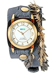 La Mer Collections Womens Multi Leaf Quartz Gold-Tone and Leather Watch, Color:Blue (Model: LMCW2016366)