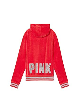 0314063c829e8 Victoria's Secret Pink Bling Perfect Full Zip Velour Hoodie, Red/Glitter