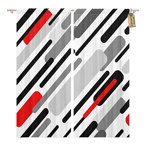 Golee Window Curtain Diagonal Stripes Abstract 1950S 1960S Motifs Retro Collection Black Home Decor Rod Pocket Drapes 2 Panels Curtain 104 x 84 inches