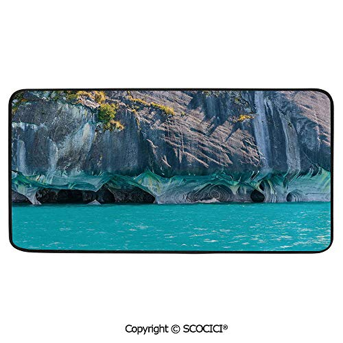 Rectangular Area Rug Super Soft Living Room Bedroom Carpet Rectangle Mat, Black Edging, Washable,Turquoise,Marble Caves of Lake General Carrera Chile South American,39