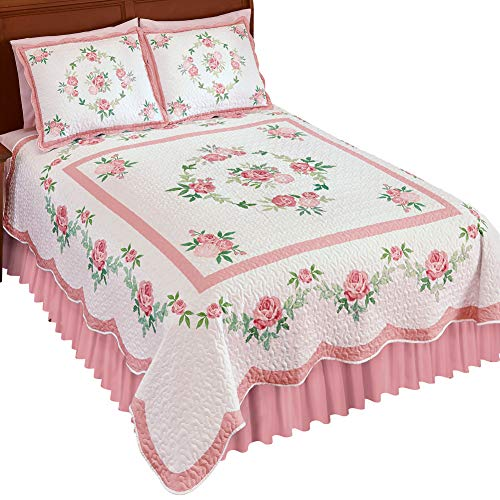 Collections Etc Pink Rose and Greenery Garland Quilt with Scalloped Edges, Reverse Side is Solid White - Seasonal Bedding, Pink, Twin (Winston Garland)