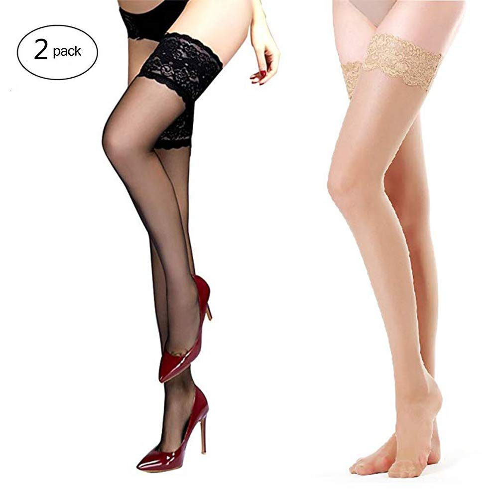 SUREPOCH 2 Pairs Thigh High Stocking Silicone Lace Top Sheer Pantyhose Silky Tights
