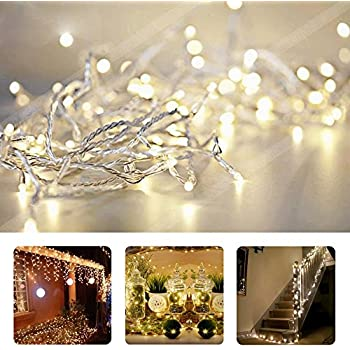 TopYart 10M/33ft Warm White LED String Lights 100 LEDs Indoor Decorative Lights for Wedding Xmas Party - Control up to 8 Sparking Modes