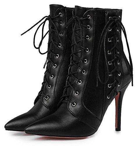 High With Aisun Lace Stilettos Elegant Women's Zipper Booties Up Black Pointy Toe HFqzWYxwFr