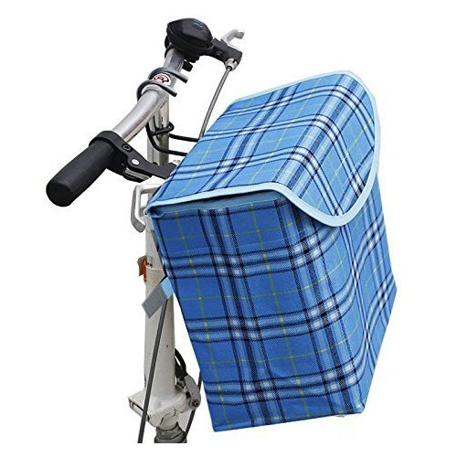 Folding Canva Metal Bike Basket,Pinsist Fold-up Front Handlebar Bicycle Basket with Detachable Hook Perfect for Girl Women Use and Knee Walker (Blue) (Ladies Bicycle With Basket)