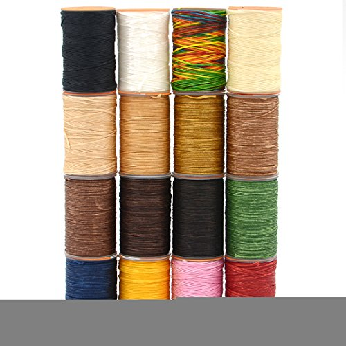 (AngelaKerry 1 Roll Leather Sewing Small Waxed Thread 0.8mm Polyester 60m Cord Stitching Leathercraft (All Colour in one Package))