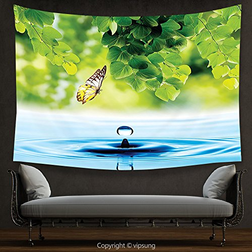 (vipsung House Decor Tapestry Butterflies Decoration Collection Flying Butterfly with Exotic Leaves and Water Drop Pure Fresh Nature Artprint Home Multi Wall Hanging for Bedroom Living Room Dorm)