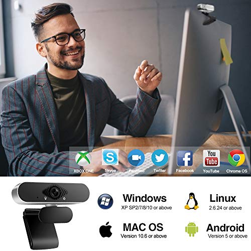 Innoo Tech Webcam, Webcam for PC, 1080P HD PC Web camera with USB Microphone, Plug and Play, for Video Calling, Online study, Conference, Recording, Gaming with Adjustable Base (Silver&black)