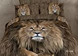 Joybuy 3d Lion King Bedding Set 3d Oil Painting Duvet Cover Set Luxury Queen Bedding Cotton Bed Sheets 4pcs
