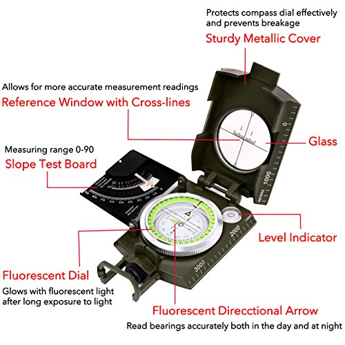 Sportneer Multifunctional Military Lensatic Sighting Compass with Inclinometer and Carrying Bag, Waterproof and Shakeproof, Army Green by Sportneer (Image #3)