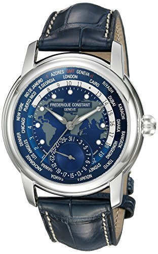 Frederique-Constant-Mens-Worldtimer-Manufacture-Automatic-Stainless-Steel-and-Leather-Casual-Watch-ColorBlue-Model-FC-718NWM4H6