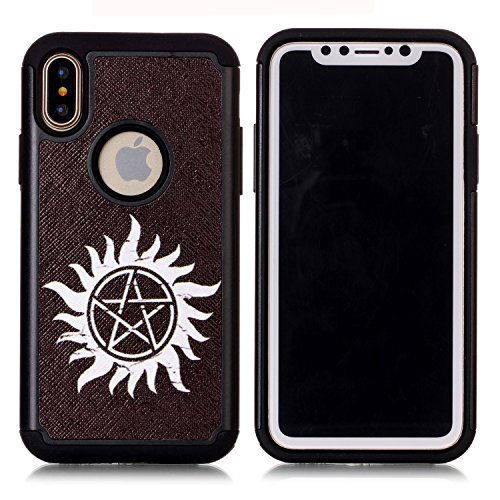 Iphone X Case,Iphone X Cover - Supernatural Pentagram Black Pattern Shock-Absorption Hard PC and Inner Silicone Hybrid Dual Layer Armor Defender Protective Case Cover for Apple iphone X (2017 release)