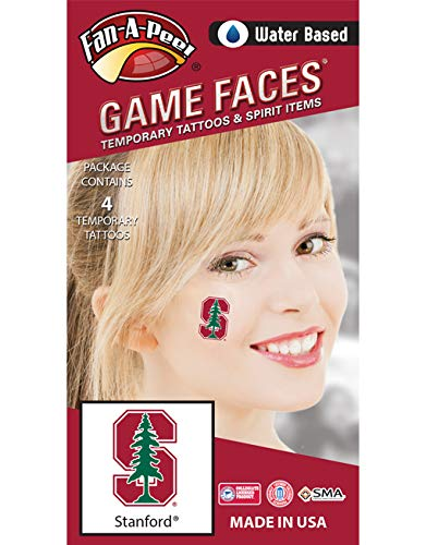 - Fan A peel Stanford University Cardinal – Water Based Temporary Spirit Tattoos – 4-Piece – Green Tree on Red S Logo