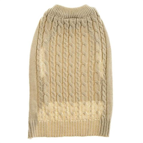 Large Cable Dog Sweater (Top Paw Tan Cable Dog Sweater -)