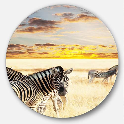 Zebra Metal Wall (Designart Zebras Walking in Bush Under Clouds African Metal Wall Art, 23 x 23, White)