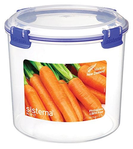 Sistema Klip It Collection Round Food Storage Container, 74 Ounce/ 9.25 Cup